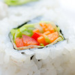 Vegetarian sushi rolls, macro - Stock Photo