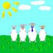 Drawing of sheep family — Stock Photo