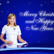 Anchorwoman greeting card — Stock Photo