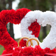 Stock Photo: Hearts car wed decoration