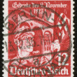 German vintage stamp, macro - Stock Photo