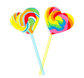 Sweet couple - colourful lollipop hearts — Stock Photo
