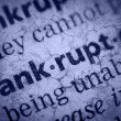 Word bankruptcy in glossary, super macro — Stock Photo