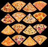 Pizza quarters set, isolated — Foto Stock