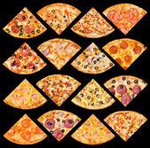 Pizza viertel satz, isoliert — Stockfoto