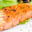 Grilled salmon, macro - Foto Stock