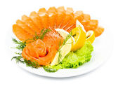 Sliced smoked salmon — Stock Photo