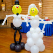 Stock Photo: Bride and groom made of balloons