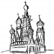 Drawing of St. Basil Cathedral (Moscow) — Stock Photo