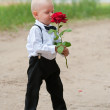 Baby boy with red rose — Stock Photo