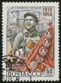 Vintage stamp, macro — Stock Photo
