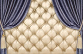 Golden upholstery velvet curtain background — Stock Photo