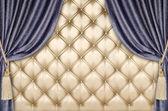 Golden upholstery velvet curtain background — Stock Photo