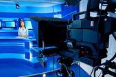 TV anchorwoman at TV studio — Stock Photo