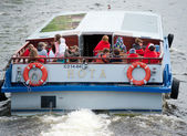 Tourists on river bus, St. Petersburg — Stock Photo