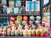 Russian dolls at street stand, St. Petersburg — Stock Photo