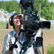 Television cameraman at work — Stock Photo