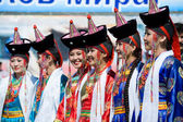 Young women at World Mongolians Convention — Stock Photo
