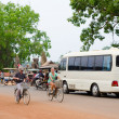 Many tourists on different transports at Angkor, Cambodia — Stock Photo