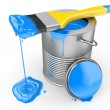 Paint can and paintbrush. 3d — Stock Photo #12833299