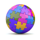Globe or sphere from puzzles. 3d — Stock Photo