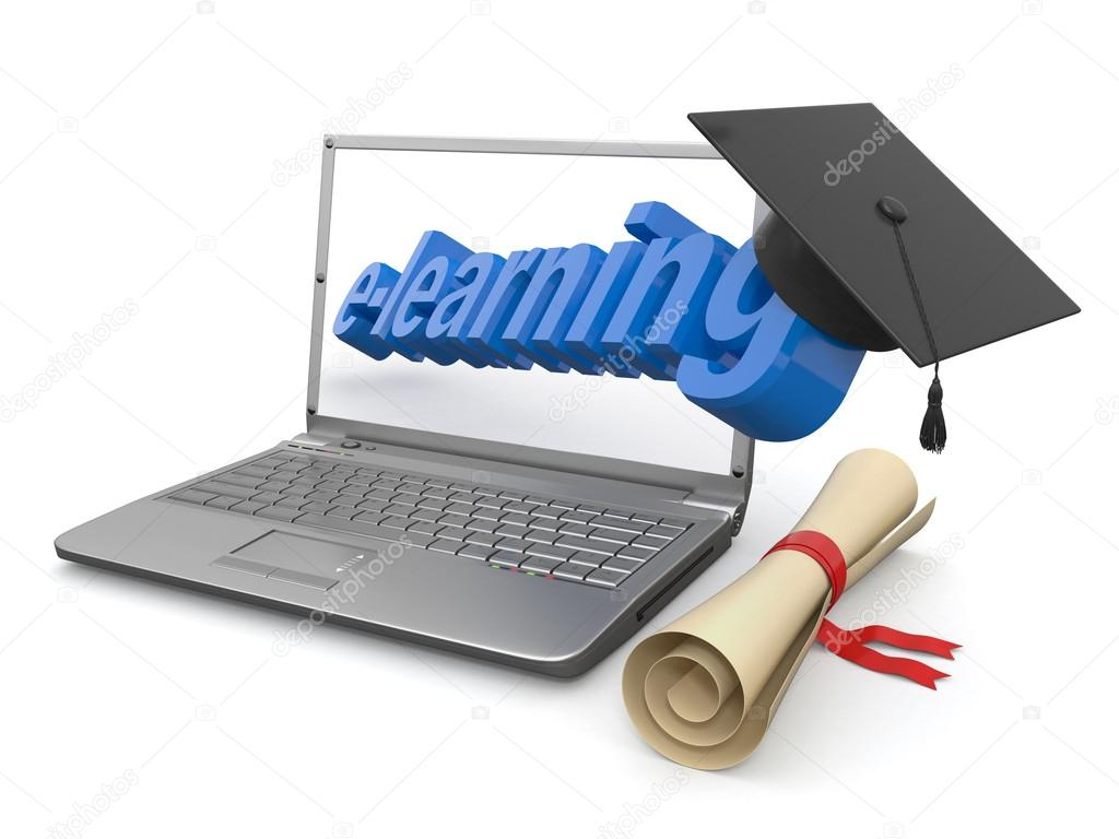 E-learning. Laptop, diploma and mortar board. 3d  Stock Photo #12833304