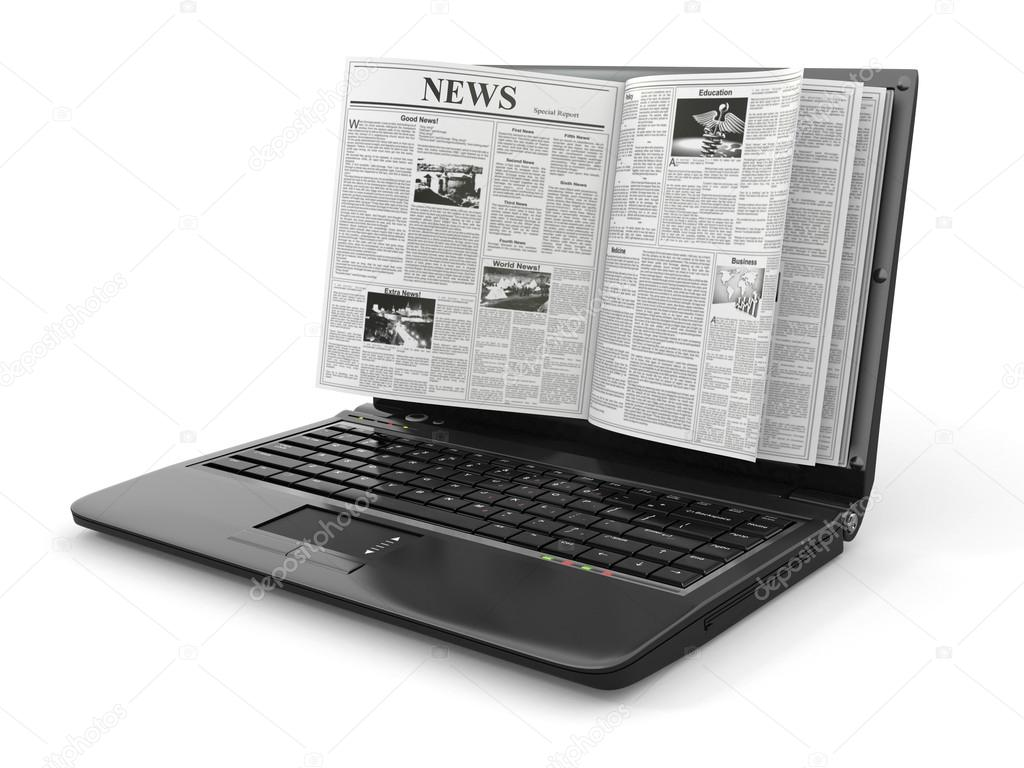 News. Newspaper as  laptop screen on white background. 3d — Stok fotoğraf #12833308