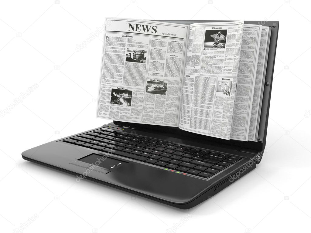 News. Newspaper as  laptop screen on white background. 3d — ストック写真 #12833308