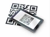 Tableta pc escanear el código qr. 3d — Foto de Stock