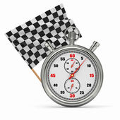 Stopwatch with checkered flag. Start or finish. — Stock Photo