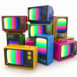 Heap of vintage tv. End of television — Stock Photo #14035388