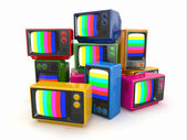 Heap of vintage tv. End of television — Stock Photo