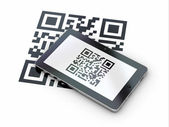Tablet pc scanning qr code. 3d — Стоковое фото