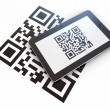 Tablet pc scanning qr code. 3d — Stock Photo