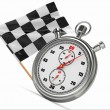 Stopwatch with checkered flag. Start or finish. — Стоковая фотография