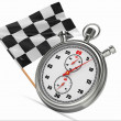 Stopwatch with checkered flag. Start or finish. — Stock Photo #14285117