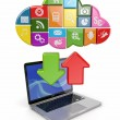 Stock Photo: Cloud computing. Laptop and icons software.