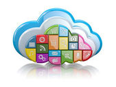 Cloud computing. Application icons. 3d — Stock Photo