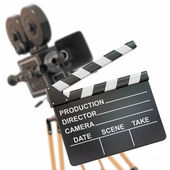 Movie composition. Vintage camera and clapperboard. — Stock Photo