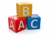 字母表。abc 块多维数据集 — 图库照片
