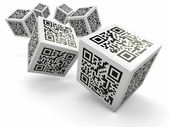 Lottery, Qr code cubes as dice — Stock Photo