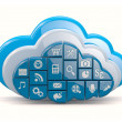 Royalty-Free Stock Photo: Cloud computing. Clouds as application icons