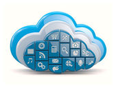 Cloud computing. Clouds as application icons — Stock Photo