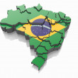 Map of Brazil in Brazilian flag colors — Stock Photo #15693057