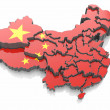 Map of China in national flag colors — Stock Photo #15693063