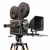 白い背景とビンテージ映画用カメラ。3 d — ストック写真