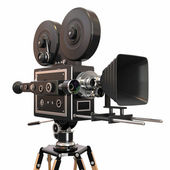 Vintage movie camera on white background. 3d — 图库照片