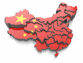 Map of China in national flag colors — Stock Photo