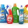 Stock Photo: Plastic detergent bottles. Cleaning products.
