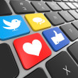 Social media on laptop keyboard. — Foto Stock